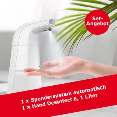 Desinfektionsmittelspender mit Sensor und 1 Liter Händedesinfektionsmittel