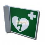 AED-Symbol auf quadratischer Platte